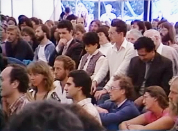 Belsebuub (in the light colored top) at Brockwood Park listening to Krishnamurti talk in 1983