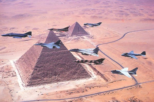 Jets over the pyramids