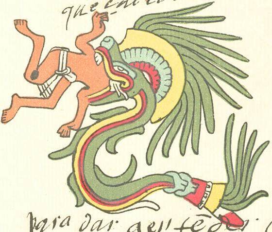 The Aztec Christ Quetzalcoatl being swallowed by the serpent (photo copyright wiki user Ptcamn)