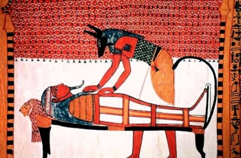 Anubis attending the mummy of Sennedjem