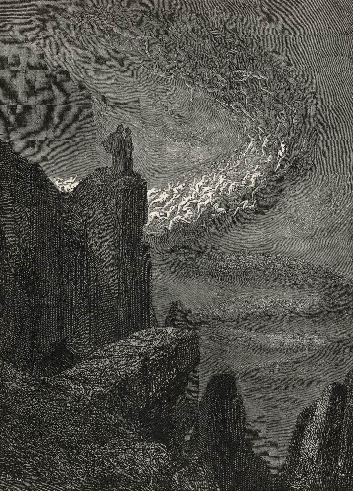 Dante and Virgil in hell - The stormy blast of hell, with restless fury drives the spirits on