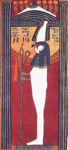 The god Sokar who later became known as Osiris in Egypt beneath a mound with the seven serpents raised. The cane he holds is a symbol of the risen kundalini.
