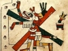 The Aztec god Xolotl (depicted with the head of a dog and body of a man), the twin brother of Quetzalcoatl, is illustrated as being on a cross. Other images show Quetzalcoatl himself on the cross, vast distances away from where Jesus was crucified.