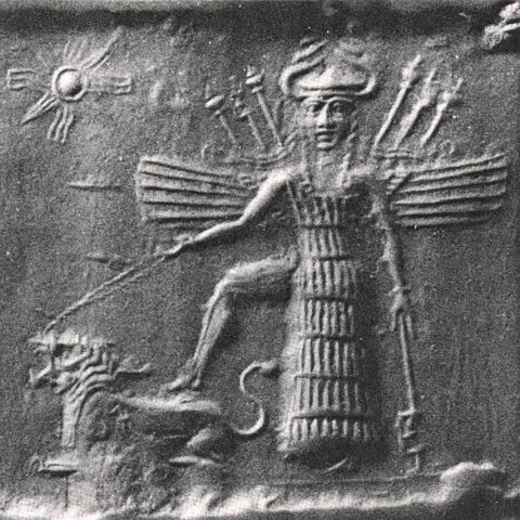 The Sumerian goddess Inanna and her lions.
