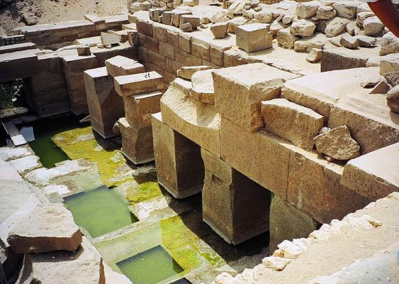 The temple of Osireion at Abydos in Egypt