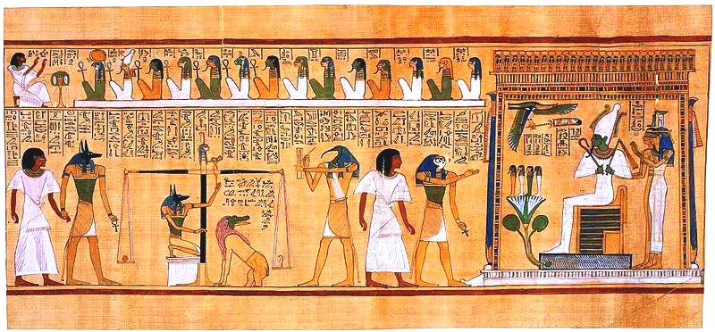 The weighing of the heart of the dead in the presence of Osiris