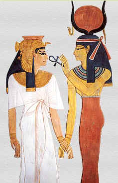Isis feeding the Ankh of eternal life to an Egyptian Queen