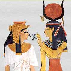 Isis feeding ankh to Egyptian queen_cropsquare