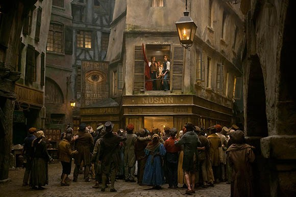 A still from the movie Les Miserables with the all-seeing eye symbol strategically placed