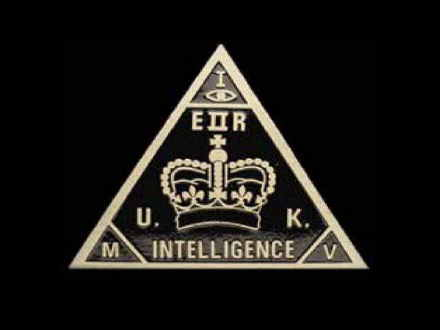 The all-seeing eye within a triangle as used in the emblem for an intelligence agency.