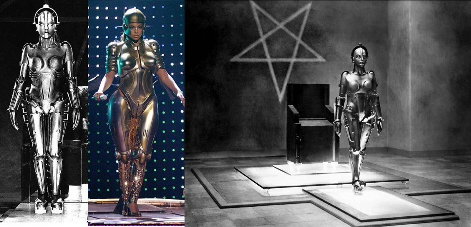 A pop star mimics a character from the old film Metropolis in which a woman was created to destroy men through sexual desire using entertainment.
