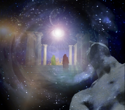 Ascending to higher realms after death to look back at life