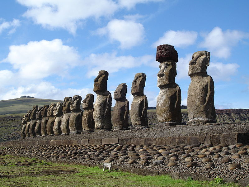 These maoi statues, which includes the heaviest on the island ever erected, stand facing the summer solstice sunset. (photo copyright 2006 Honey Hooper)