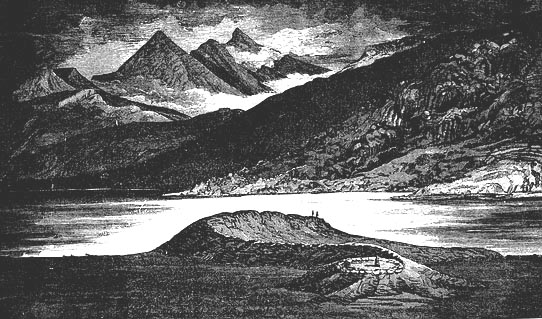 A drawing published in 1883 of the Loch Nell serpent mound in Scotland. The altar in the stone circle at the head of the serpent is in the foreground, and the 3 mountain peaks in the background. The design of this particular serpent mound is strikingly similar to the one in the United States.