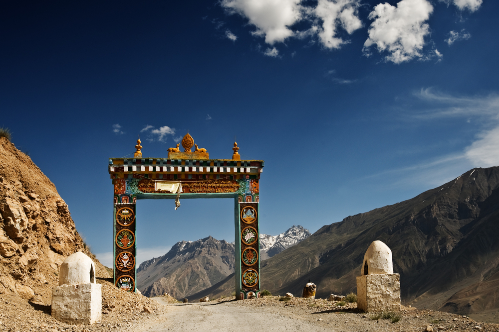 The gate to the Ki Monastery in the Himalayas, signifying an entrance into a sacred place.
