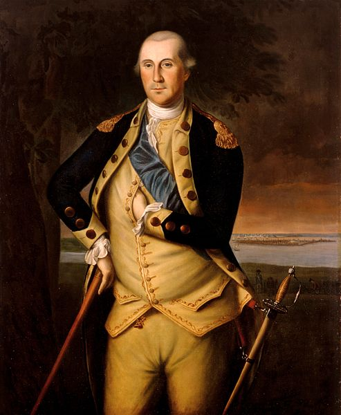 "Portrait of the first president of the United States republic, George Washington, doing the Freemason ""hidden hand"" sign, in this painting from 1776."