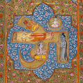 Brahma, Vishnu, and Shiva–gods of Hindu mythology–within an OM. This illustration is from a Mahabharata manuscript from 1795.