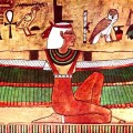 The goddess Isis depicted with outstretched wings (a wall painting, c. 1360 BC)