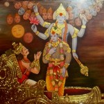 Krishna showing divine form to Arjuna photo copyright wiki user Shyam 2008
