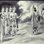 A depiction of Indra and Gods giving boons to Arjuna and Krishna.
