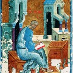 A miniature painting depicting St. Matthew recording the Gospel by Russian artist Andrei Rublev, c. 1400.